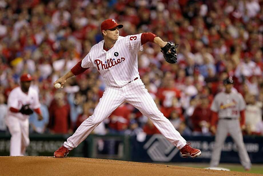 PHILADELPHIA, PA - OCTOBER 07:  Roy Halladay #34 of the Philadelphia Phillies throws a pitch against the St. Louis Cardinals during Game Five of the National League Divisional Series at Citizens Bank Park on October 7, 2011 in Philadelphia, Pennsylvania.  (Photo by Rob Carr/Getty Images) Photo: Rob Carr, Getty Images