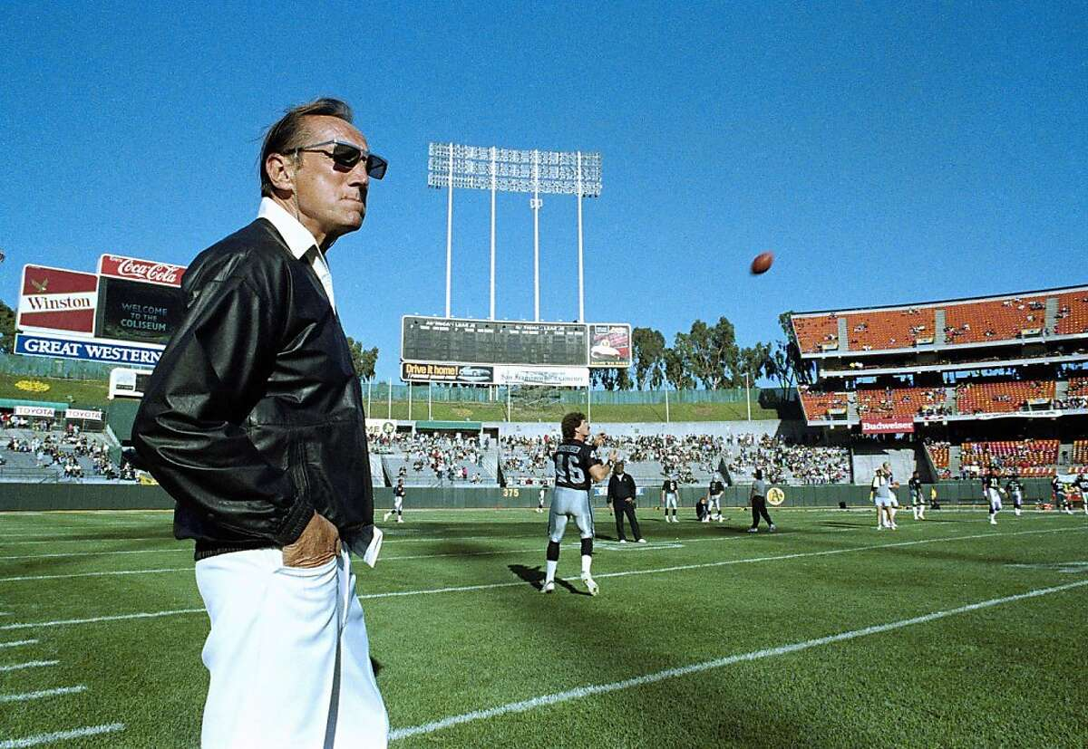 FILE - In this Saturday, Aug. 26, 1989 file photo, Raiders owner Al Davis watches Los Angeles Raiders practice before exhibition game against the Houston Oilers at the Oakland Coliseum. Davis, the Hall of Fame owner of the Oakland Raiders known for his rebellious spirit, has died. The team announced his death at age 82 on Saturday, Oct. 8, 2011. (AP Photo/Scott Anger, File) Ran on: 10-09-2011 Al Davis, watching the Raiders practice before an exhibition game at the Oakland Coliseum, showed a steely, brash exterior that masked a genuinely caring heart. Ran on: 10-09-2011 Al Davis, watching the Raiders practice before an exhibition game at the Oakland Coliseum, showed a steely, brash exterior that masked a genuinely caring heart.