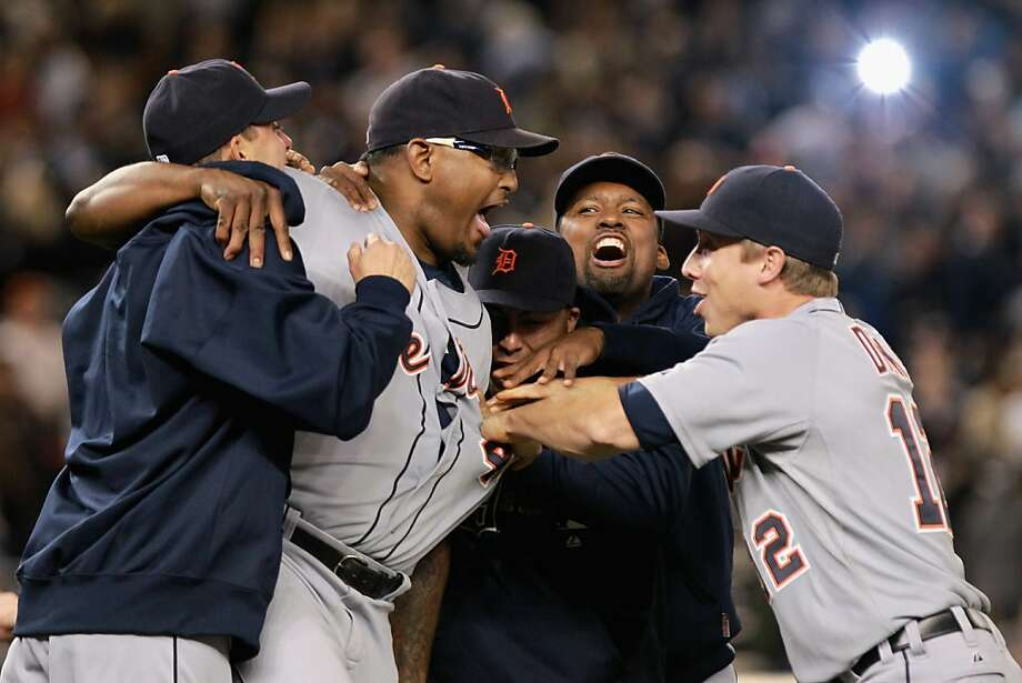NEW YORK, NY - OCTOBER 06:  Jose Valverde #46 (2nd L) of the Detroit Tigers celebrates with his teammates after he was the closing pitcher in the Tigers 3-2 win against the New York Yankees during Game Five of the American League Championship Series at Yankee Stadium on October 6, 2011 in the Bronx borough of New York City.  (Photo by Nick Laham/Getty Images) Photo: Nick Laham, Getty Images