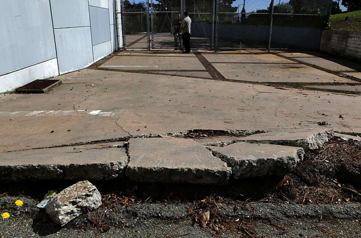 A walkway that is closed due to the unsafe condition, on Friday October 7, 2011, one of the many areas of needed repair at Phillip and Sala Burton Academic High School in San Francisco, Ca. Money would become available if Proposition A were passed in the upcoming elections, funding that would fix the school.