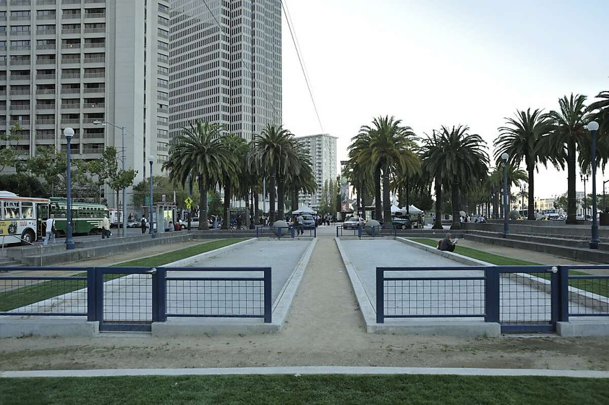 One of the public places in San Francisco to play bocce is the the Justin Herman Plaza near the Ferry Building.
