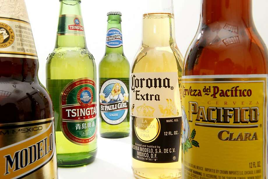 This Oct. 5, 2010 photo shows bottles of Constellation Brands, Inc., beer products, including, from left, Negra Modelo, Tsingtao, St. Pauli Girl, Corona Extra and Pacifico in Philadelphia. Constellation, which also sells Robert Mondavi wine and Svedka vodka, said Thursday, Jan. 6, 2011 that its third-quarter net income more than tripled as it took fewer charges and benefited from a lower tax rate. (AP Photo/Matt Rourke)  Ran on: 01-07-2011 Photo caption Dummy text goes here. Dummy text goes here. Dummy text goes here. Dummy text goes here. Dummy text goes here. Dummy text goes here. Dummy text goes here. Dummy text goes here.###Photo: world07_constellation_PH1286150400AP###Live Caption:This Oct. 5, 2010 photo shows bottles of Constellation Brands, Inc., beer products, including, from left, Negra Modelo, Tsingtao, St. Pauli Girl, Corona Extra and Pacifico in Philadelphia. Constellation, which also sells Robert Mondavi wine and Svedka vodka, said Thursday, Jan. 6, 2011 that its third-quarter net income more than tripled as it took fewer charges and benefited from a lower tax rate.###Caption History:This Oct. 5, 2010 photo shows bottles of Constellation Brands, Inc., beer products, including, from left, Negra Modelo, Tsingtao, St. Pauli Girl, Corona Extra and Pacifico in Philadelphia. Constellation, which also sells Robert Mondavi wine and Svedka vodka, said Thursday, Jan. 6, 2011 that its third-quarter net income more than tripled as it took fewer charges and benefited from a lower tax rate. (AP Photo-Matt Rourke)###Notes:###Special Instructions:OCT. 5, 2010 PHOTO  Ran on: 10-07-2011 Moderately priced import beers are part of the portfolio of Constellation Brands, the world's No. 2 vintner. Photo: Matt Rourke, AP