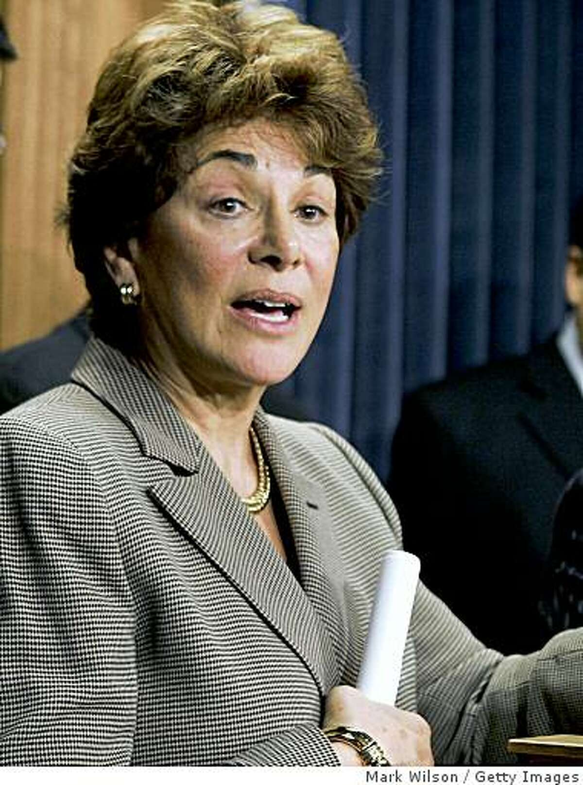 WASHINGTON - NOVEMBER 18: U.S. Rep. Anna Eshoo (D-CA) (L), flanked by U.S. Rep. Jane Harman (D-CA), speaks during a news conference during a press conference on pre-war intelligence on Capitol Hill November 18, 2005 in Washington DC. The Select Intelligence Committee Democrats spoke about prewar WMD intelligence leading up to the Iraq war. (Photo by Mark Wilson/Getty Images) Ran on: 03-11-2009 U.S. Rep. Anna Eshoo's district south of San Francisco was ranked as the most contented in the United States. Ran on: 12-06-2009 Rep. Anna Eshoo, a Palo Alto Democrat, introduced the legislation that boosts Silicon Valley biotech firms development of biologics, new drugs based on gene splicing. Ran on: 09-02-2010 Anna Eshoo, Googles ally in the past, differs with the firm on its plan for Internet flow. Ran on: 09-02-2010 Photo caption Dummy text goes here. Dummy text goes here. Dummy text goes here. Dummy text goes here. Dummy text goes here. Dummy text goes here. Dummy text goes here. Dummy text goes here.###Photo: google02_eshoo_PH1132185600Getty Images North America###Live Caption:WASHINGTON - NOVEMBER 18: U.S. Rep. Anna Eshoo (D-CA) (L), flanked by U.S. Rep. Jane Harman (D-CA), speaks during a news conference during a press conference on pre-war intelligence on Capitol Hill November 18, 2005 in Washington DC. The Select Intelligence Committee Democrats spoke about prewar WMD intelligence leading up to the Iraq war. (Photo by Mark Wilson-Getty Images)###Caption History:WASHINGTON - NOVEMBER 18: U.S. Rep. Anna Eshoo (D-CA) (L), flanked by U.S. Rep. Jane Harman (D-CA), speaks during a news conference during a press conference on pre-war intelligence on Capitol Hill November 18,...