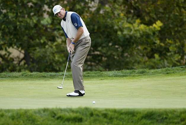 Ernie Els with a birdie put on the 3rd hole as he plays in the Pro-Am at the Frys.com Open at the CordeValle Country Club in San Martin, Ca. on Wednesday October 5, 2011. Photo: Michael Macor, The Chronicle
