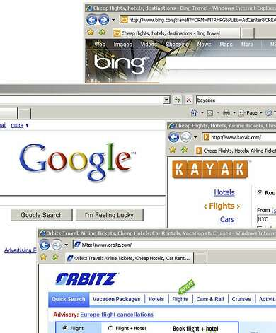 The webpages of Google, Bing, Kayak and Orbitz are displayed on a computer screen in New York, U.S., on Wednesday, April 21, 2010. Google Inc. is in talks to acquire ITA Software Inc., a maker of travel programs used by companies including Orbitz Worldwide Inc. and Microsoft Corp., three people familiar with the matter said. via Bloomberg  The webpages of Google, Bing, Kayak and Orbitz are displayed on a computer screen in New York, U.S., on Wednesday, April 21, 2010. Google Inc. is in talks to acquire ITA Software Inc., a maker of travel programs used by companies including Orbitz Worldwide Inc. and Microsoft Corp., three people familiar with the matter said. via Bloomberg  Ran on: 12-14-2010 Google's acquisition of travel-search company ITA Software is the object of a protest by a coalition that includes Microsoft.  Ran on: 01-16-2011 Google's bid to buy ITA has run into opposition.  Ran on: 02-03-2011 Google could challenge other online travel sites if it acquires ITA Software, which the other sites use.  Ran on: 04-08-2011 Google is in talks to acquire ITA Software, a provider of travel data used by various websites. Photo: Bloomberg