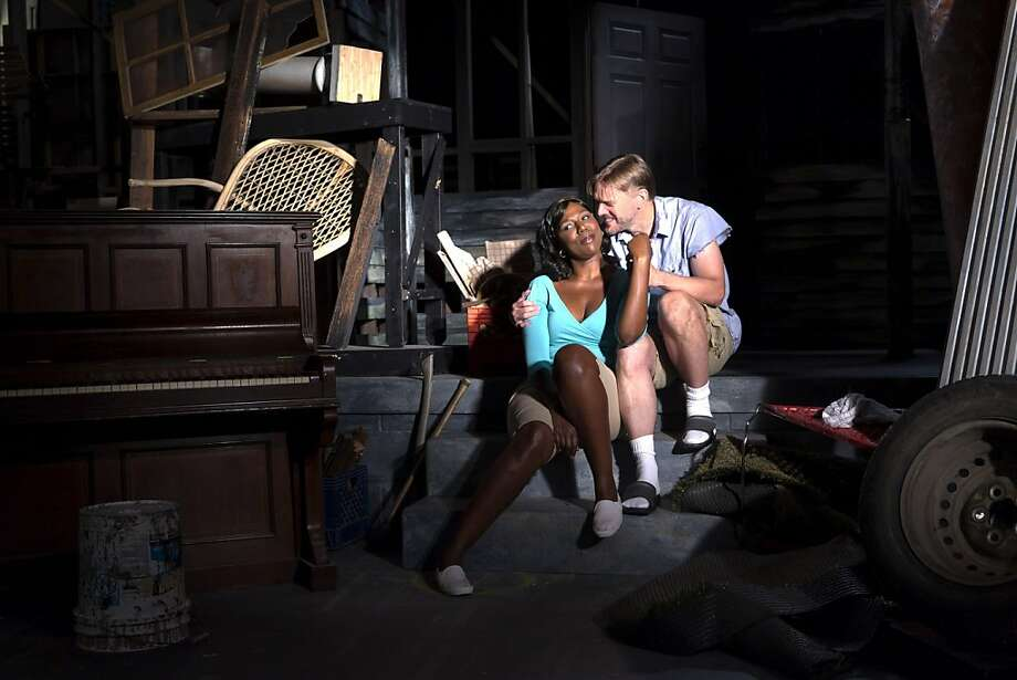 """Clementine (Laiona Michelle, left) and her musician husband Jaffy (Jack Koenig) try to reconstruct their lives in post-Katrina New Orleans in TheatreWorks' world premiere of Dan Dietz's """"Clementine in the Lower 9"""" Photo: Mark Kitaoka"""