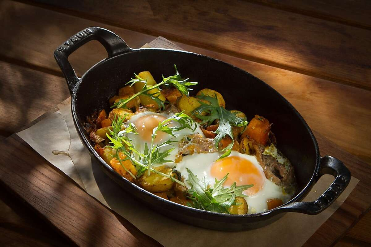 The Duck Confit Hash with Baked Eggs at Cotogna Restaurant in San Francisco, Calif., is seen on Saturday, October 1, 2011.