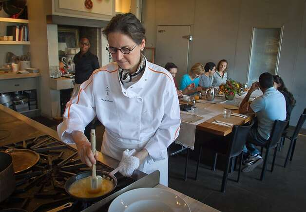 Chef Amaryll Schwertner cooks scrambled eggs for brunch at Boulette's Larder in San Francisco, Calif., on Sunday,  October 2, 2011. Photo: John Storey, Special To The Chronicle