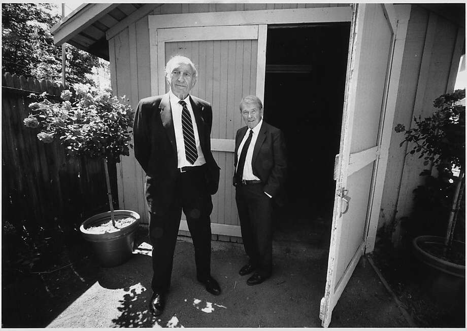 David Packard (left) and William R. Hewlett, founders of Hewlett-Packard, stand in front of the garage where they started their company.  Photo was taken circa 1989. Photo: Steve German, The Chronicle