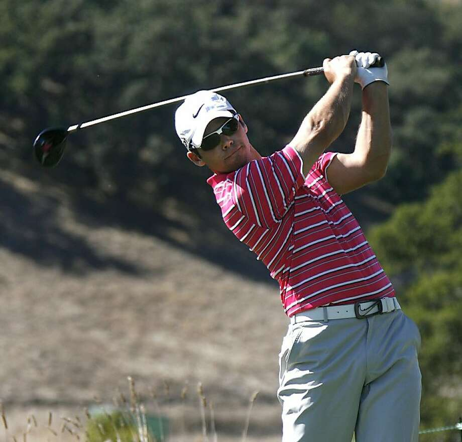 Paul Casey, of England, tees off on the ninth hole in the second round at the Frys.Com Open golf tournament, Friday, Oct. 7, 2011, in San Martin, Calif.  (AP Photo/Dino Vournas) Photo: Dino Vournas, AP