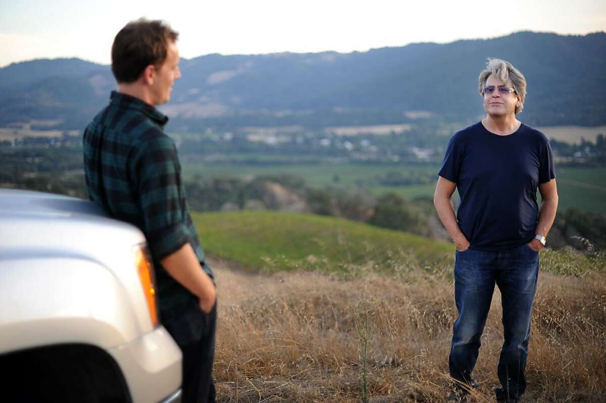 Knez Winery owner Peter Knez (R) with winemaker Anthony Filiberti near the Cerise vineyard in Boonville, California in the Anderson Valley. September 29, 2011