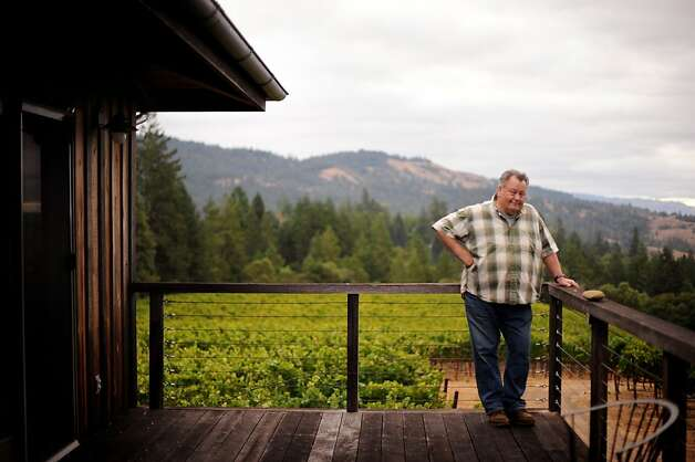 Burt Williams on his deck that overlooks his 12-acre Morning Dew vineyard in Philo, California in Anderson Valley. October 2, 2011 Photo: Erik Castro, Special To The Chronicle