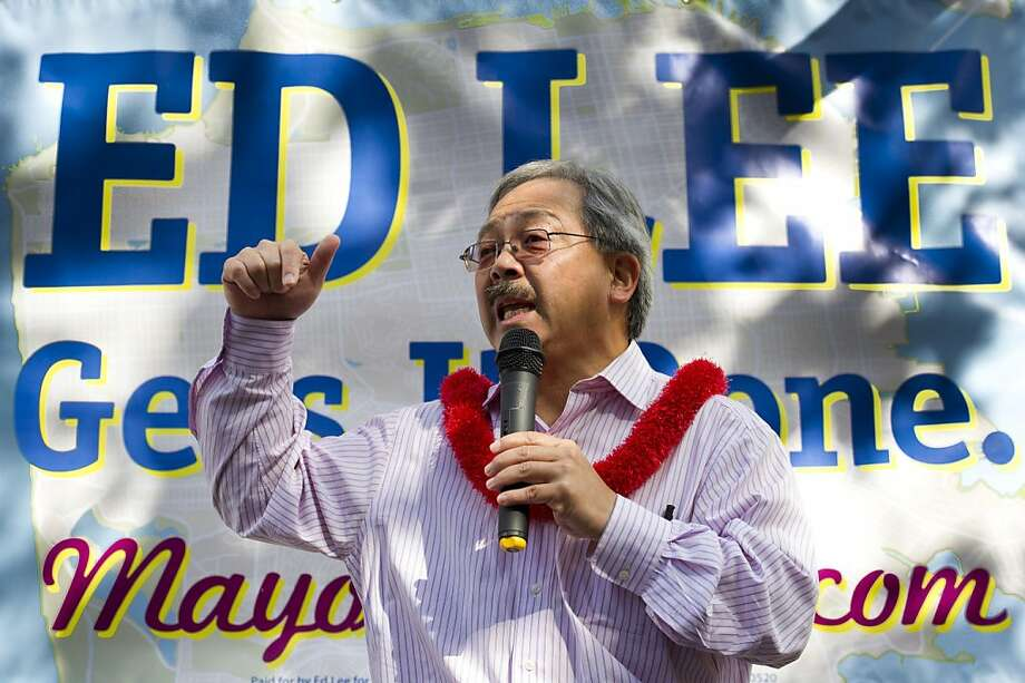 Mayoral candidate Ed Lee greets supporters as he opens his campaign headquarters on Market Street on August 20, 2011 in San Francisco, Calif.  Photograph by David Paul Morris/Special to the Chronicle Photo: David Paul Morris, Special To The Chronicle
