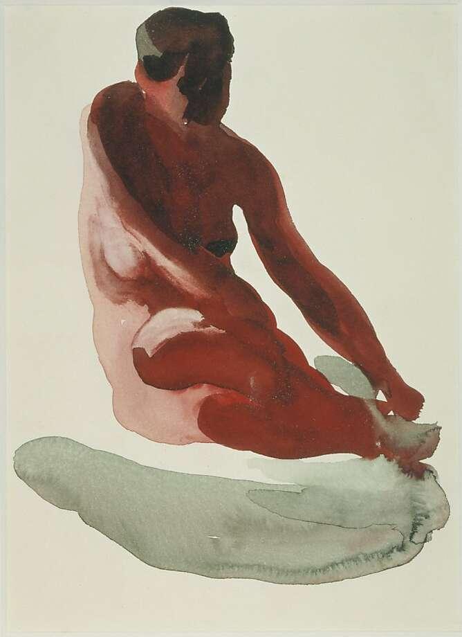 """Georgia O'Keeffe (U.S.A., 1887-1986), ""Nude Series"" (1917)  Watercolor on paper by Georgia O'Keeffe. Photo: Unknown, Georgia O'keeffe Mus., Santa Fe"