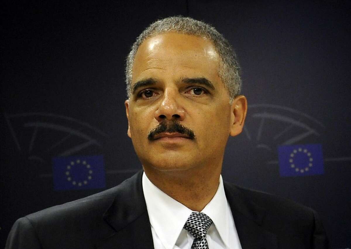 US attorney General Eric Holder is seen during a joint presser on EU-US strategy against Transnational Crime with Chair of the Civil Liberties Committee Juan Fernando Lopez Aguilar (not in pic) at the EU headquarters in Brussels on September 20, 2011. Holder is travelling to Brussels and Dublin this week in order to address members of the European Union Parliament and to attend meetings with his foreign counterparts. AFP PHOTO JOHN THYS (Photo credit should read JOHN THYS/AFP/Getty Images)