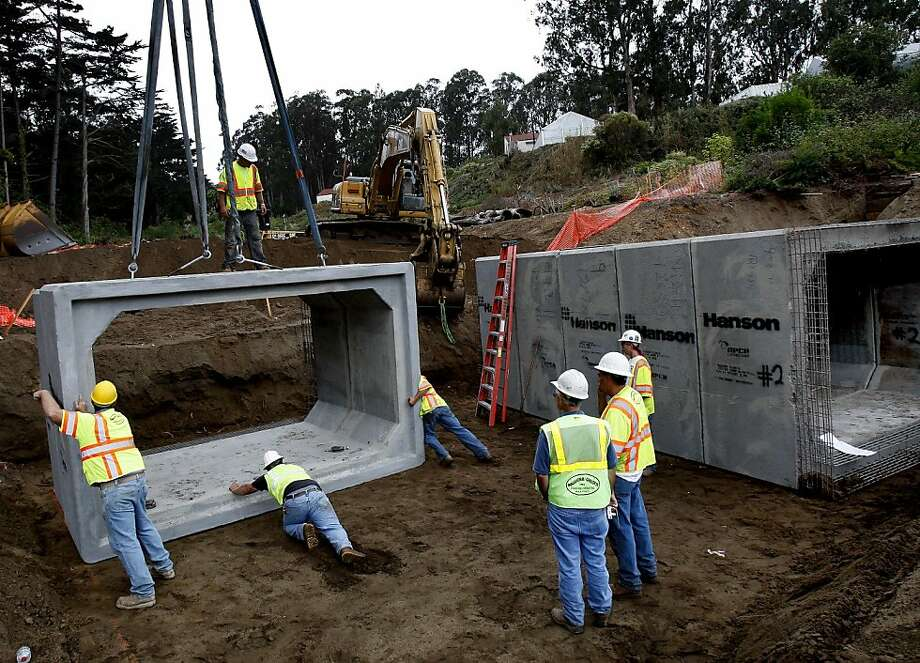 Huge concrete culverts for two channels will allow animals to get past a roadway which will go over Dragonfly Creek. Work to restore and expand the wetlands at Dragonfly Creek in the Presidio, San Francisco, Calif. will open to daylight a waterway hidden for centuries in channels and pipes. Photo: Brant Ward, The Chronicle