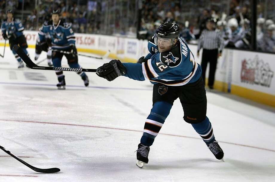 San Jose Sharks Patrick Marleau (12) breaks free for a shot on goal during first period action in the 2nd annual Teal and White scrimmage Tuesday September 20, 2011 at HP Pavilion in San Jose California. Photo: Lance Iversen, The Chronicle