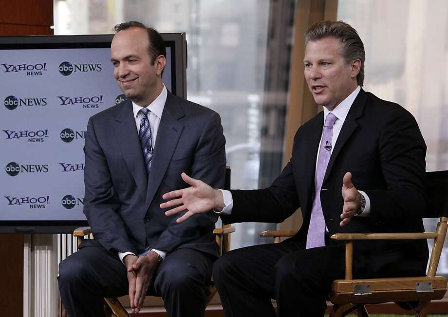 ABC News President Ben Sherwood, left, and Ross Levinsohn, Yahoo's Executive Vice President of Americas, address a news conference in New York, Monday, Oct. 3, 2011. ABC News is joining forces with Yahoo to deliver more digital news content to their audiences. With the deal, the companies say ABC News content will be prominently featured on the Yahoo News and Yahoo front page. (AP Photo/Richard Drew) Photo: Richard Drew, AP