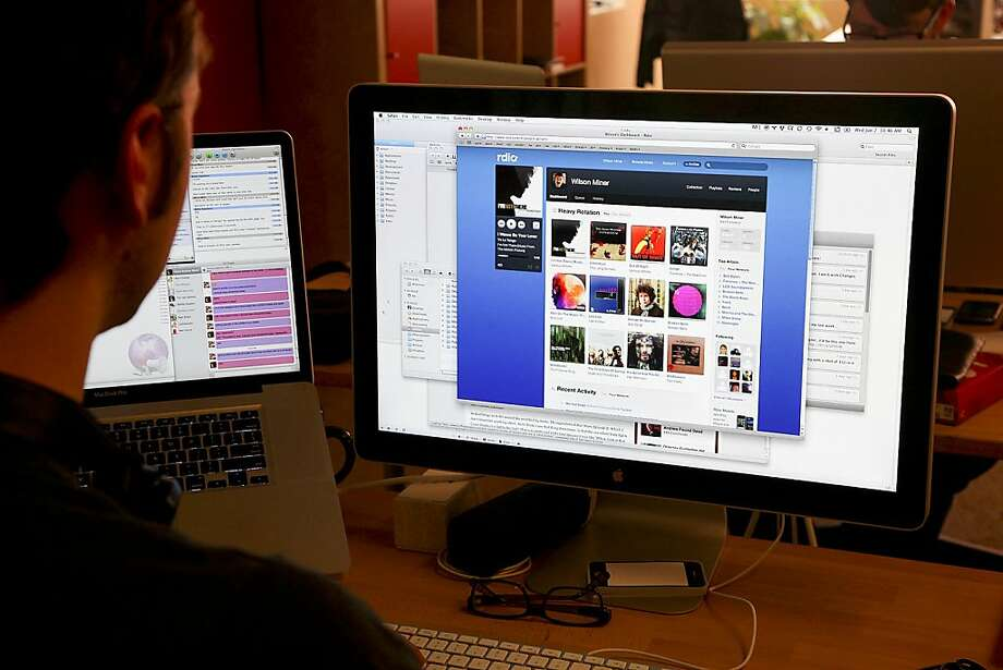 FILE -- The web site of Rdio, a subscription music service, on a computer screen at the company offices in San Francisco, June 2, 2010. In recent weeks Amazon, Google and Apple have announced services to store individual music collections in the cloud, the name for online storage and software available to anyone, anywhere with Internet, and for syncing to multiple devices. (Jim Wilson/The New York Times) -- PHOTOS MOVED IN ADVANCE AND NOT FOR USE - ONLINE OR IN PRINT - BEFORE JUNE 26, 2011. --  Ran on: 07-09-2011 Rdio, a subscription music service, has hinted at a big announcement in August, which may be about an integration with Facebook.  Ran on: 08-23-2011 Rdio of San Francisco charges a monthly fee to stream music.  Ran on: 10-08-2011 San Francisco's Rdio will now let music fans use its service on a trial basis free for several months. Photo: Jim Wilson, New York Times