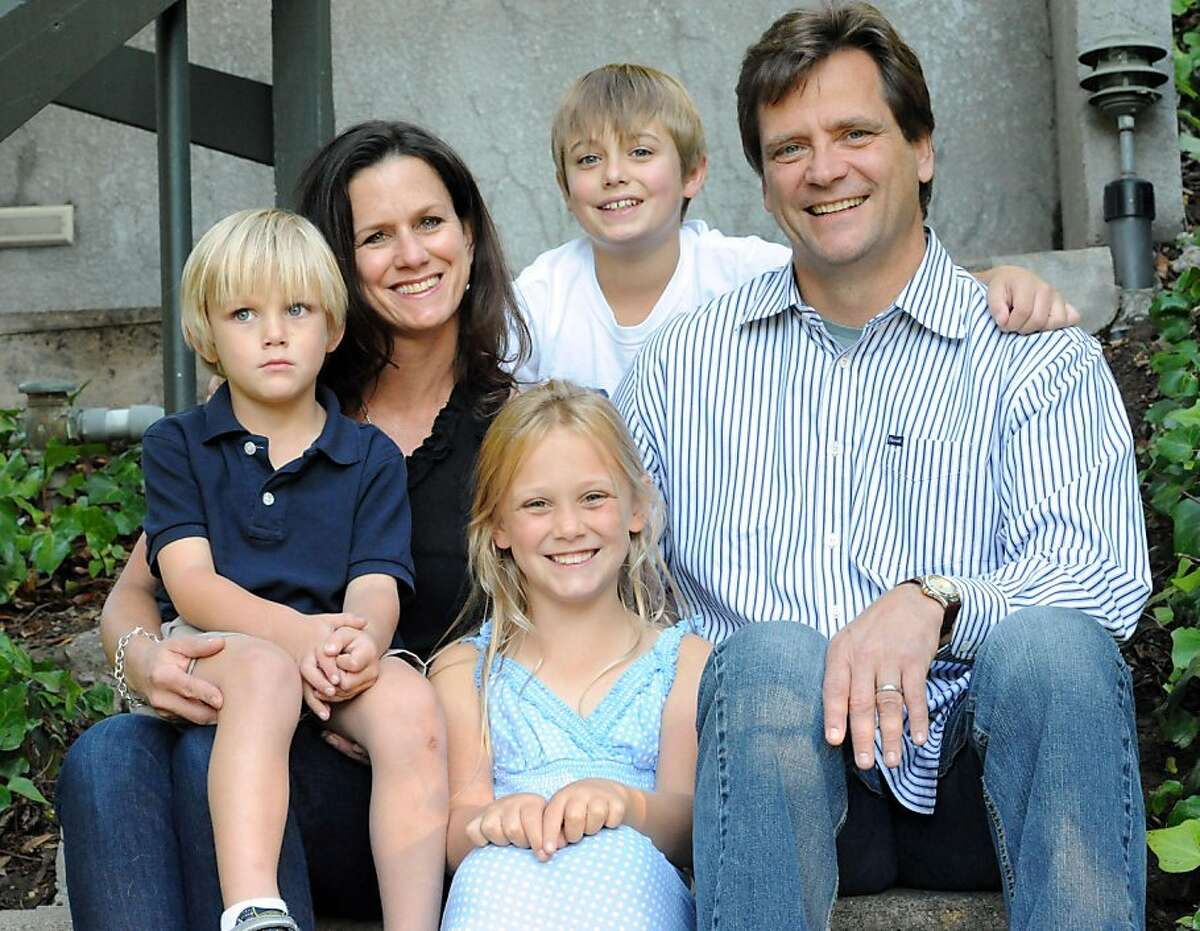 Art Wagner poses for a photo with his wife Kelly and their three children Nicole, Luke (on Kelly's lap) and Alex on October 7, 2011. Wagner was diagnosed with prostate cancer through a routine test when he was 48 years old.