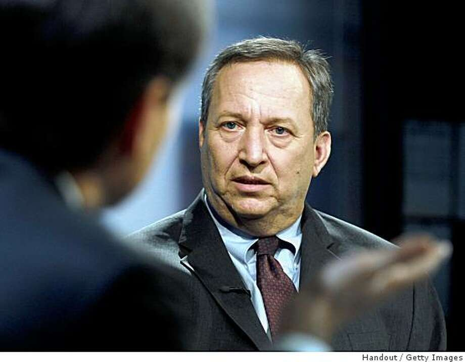 """WASHINGTON, DC - MARCH 15:  (NO SALES, NO ARCHIVE) In this handout from ABC News, White House National Economic Council Director Lawrence Summers talks with George Stephanopoulos (L) on """"This Week With George Stephanopoulos"""" at the Newseum on March 15, 2009 in Washington, DC. Summers spoke about the economic bailed out and the rescue efforts for insurer AIG.  (Photo by Lauren Victoria Burke/ABC via Getty Images) Photo: Handout, Getty Images"""