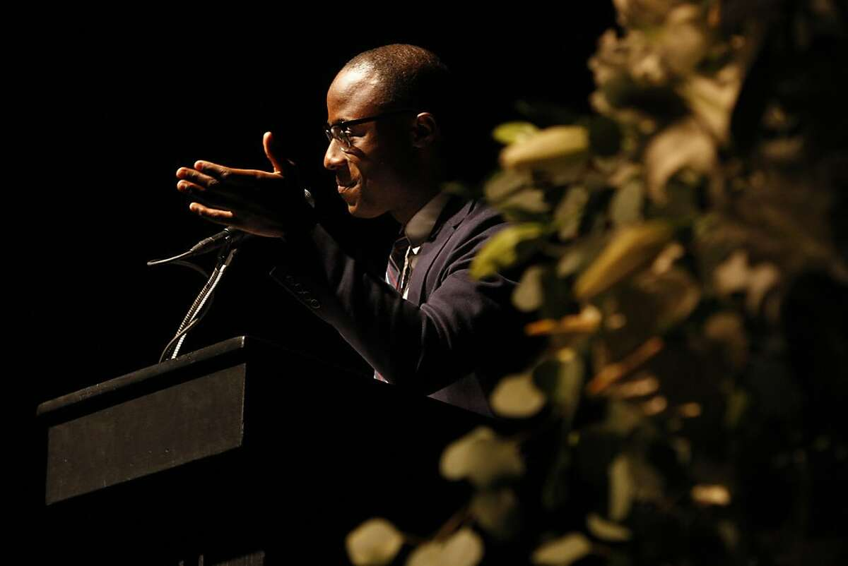 Barry Jenkins, a local filmmaker, speaks at the memorial for Graham Leggat, former Executive Director of the San Francisco Film Society, at the Palace of Fine Arts in San Francisco, Calif., on Tuesday, Oct. 4, 2011. Leggat passed away in late August after an eighteen month battle with cancer.
