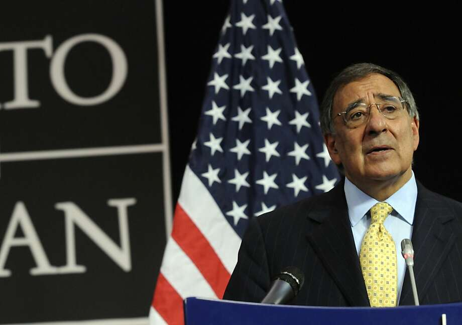 US Secretary of Defence Leon Panetta speaks during a press conference, after a meeting of NATO Defense Ministers at the NATO headquarters in Brussels, on October 5, 2011. AFP PHOTO/Thierry Charlier (Photo credit should read THIERRY CHARLIER/AFP/Getty Images) Photo: Thierry Charlier, AFP/Getty Images