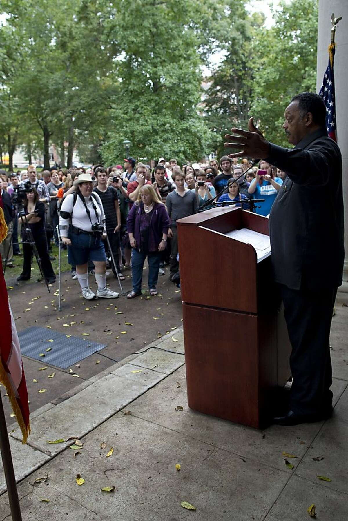 The Rev. Jesse Jackson speaks at Ohio University Monday, Sept. 26, 2011. Jackson said that poverty must be addressed with a federal effort reminiscent of President Lyndon B. Johnson's
