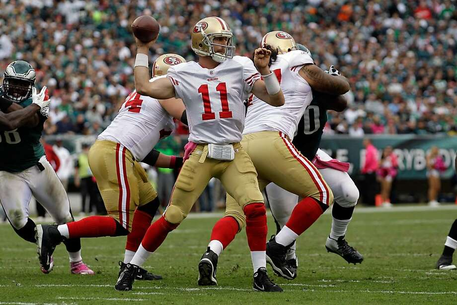 PHILADELPHIA, PA - OCTOBER 02: Quarterback  Alex Smith #11 of the San Francisco 49ers throws a pass against the Philadelphia Eagles during the first half at Lincoln Financial Field on October 2, 2011 in Philadelphia, Pennsylvania.  (Photo by Rob Carr/Getty Images) Photo: Rob Carr, Getty Images