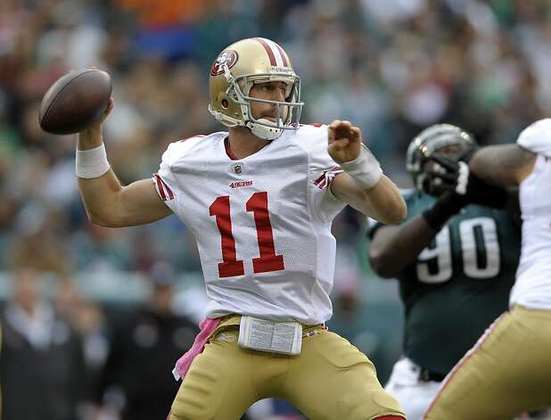 San Francisco 49ers quarterback Alex Smith (11) looks to pass in the first half of an NFL football game against the Philadelphia Eagles on Sunday, Oct. 2, 2011, in Philadelphia. (AP Photo/Michael Perez) Photo: Michael Perez, AP