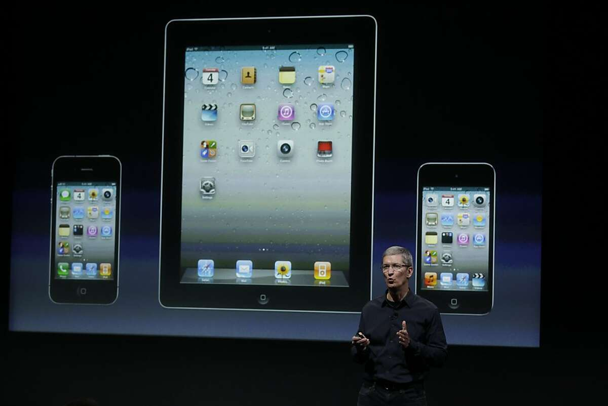 Apple CEO Tim Cook talk about iTouch, iPhone and iPad during announcement at Apple headquarters in Cupertino, Calif., Tuesday, Oct. 4, 2011. (AP Photo/Paul Sakuma)
