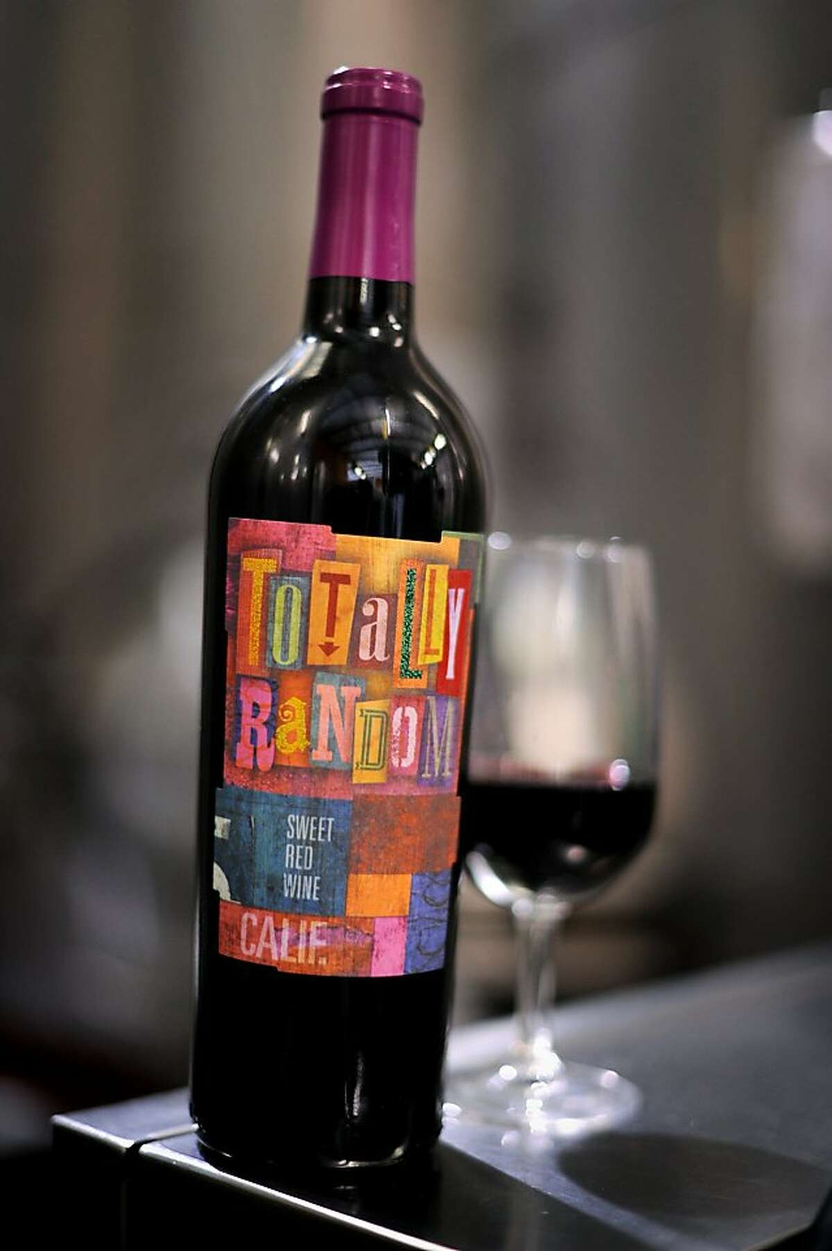 Totally Random, a sweet red wine created by Adler Fels Winery in Santa Rosa, California. The wine was created to attract the younger drinking market. September, 30 2011.