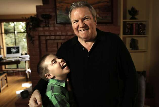 Ralph Barbieri and his 11-year-old son, Tate at their Novato, Ca. home, Ca. on Saturday October 1, 2011.  Ran on: 10-05-2011 Ralph Barbieri, 65, and his 11-year-old son, Tayte, at their home in Novato. Barbieri told his son of his diagnosis last week. Photo: Michael Macor, The Chronicle