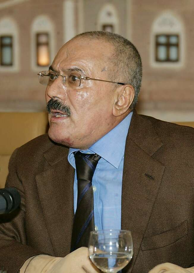 Yemeni President Ali Abdullah Saleh gives a speech which was also televised in Sanaa on October 8, 2011, where he said he is now ready to step down within days in the face of more than eight months of street protests demanding his ouster.  AFP PHOTO/STR (Photo credit should read -/AFP/Getty Images) Photo: -, AFP/Getty Images