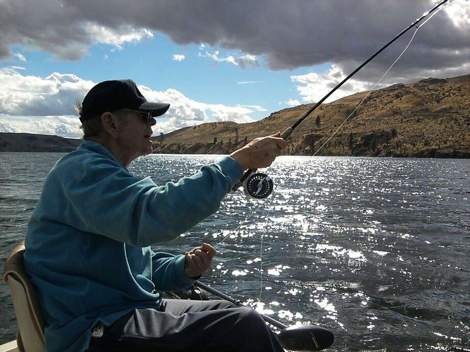 Master flyfisherman Ed Rice does his thing at Lake Rufus Woods Photo: Tom Stienstra/The Chronicle