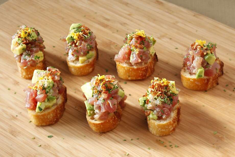 Toro Avocado Yuzu Crustini as seen in San Francisco, California, on Wednesday, August 17, 2011. Food styled by Clare Molla. Photo: Craig Lee, Special To The Chronicle