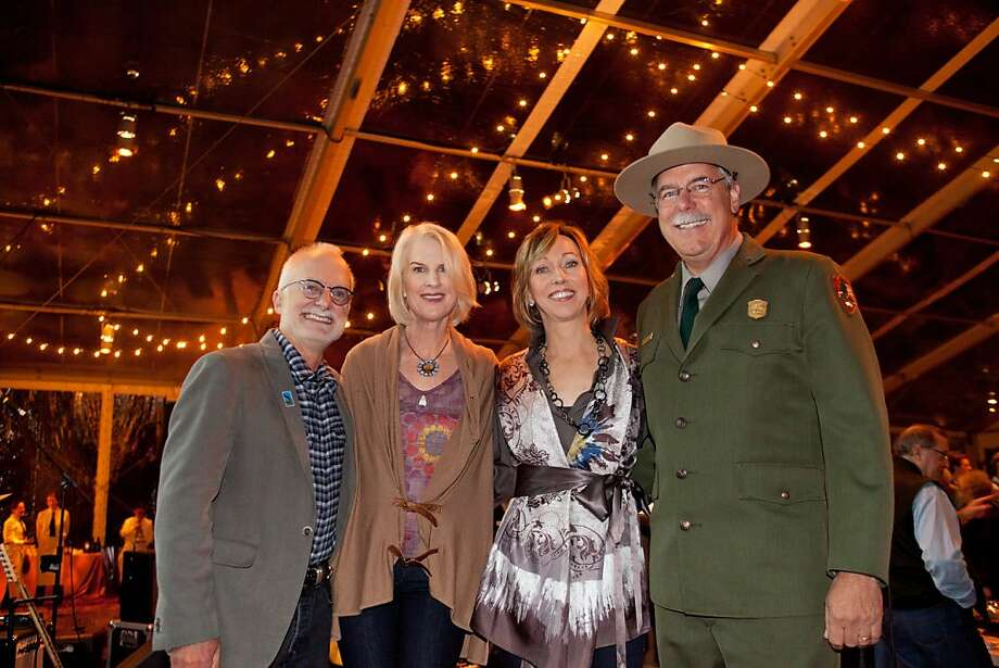 Golden Gate National Parks Conservancy Executive Director Greg Moore (left) with Trails Forever Dinner co-chairs Catherine Bradford, Janice Barger and Golden Gate National Parks Superintendent Frank Dean. Sept 2011. By Charlotte Fiorito. Photo: By Charlotte Fiorito, Special To The Chronicle
