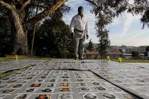 Larry Blufold seaches the photos of victims for the 27 family members that he lost when he was 14-years-old, as family and friends gather for the 32nd anniversary of Jonestown massacre,  on Thursday Nov. 18, 2010 at the Evergreen Cemetery in Oakland, Calif., to remember those lost in the mass suicide in Guyana, South America in 1978. Bluford, of Inglewood, Ca., made is making his very first trip to the annual memorial after 32 years.
