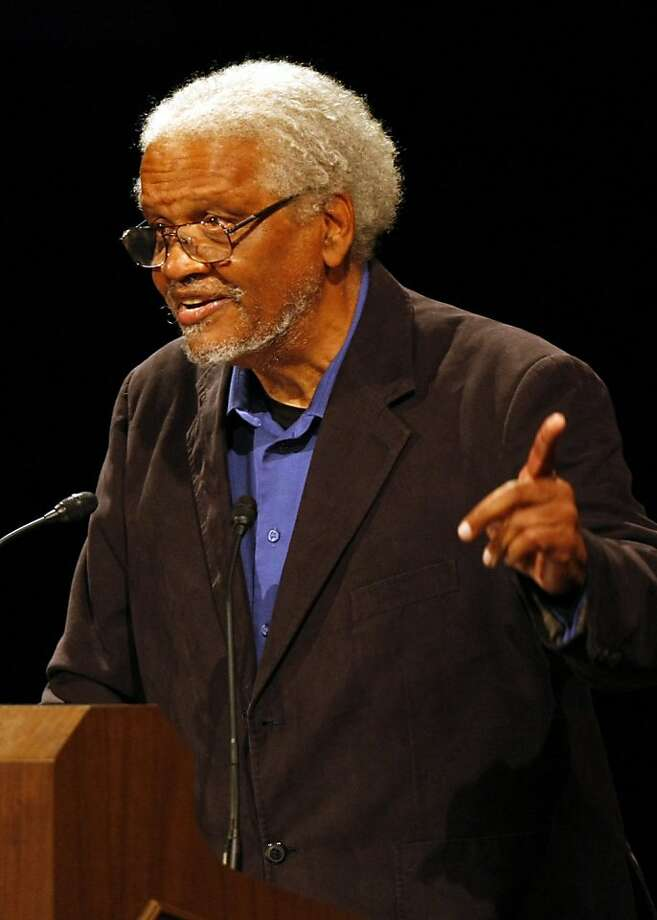 Ishmael Reed spoke at the Herbst Theatre Saturday, October 2, 2010, San Francisco, Calif.  Lawrence Ferlinghetti, poet and cofounder of City Lights Bookstore, is honored with the Barbary Coast Award during Litquake, San Francisco's Literary Festival.  Ran on: 10-05-2010 Ishmael Reed, above, and Robert Scheer, left, were among the many writers paying tribute to Ferlinghetti.  Ran on: 03-24-2011 Ishmael Reed won this year's Barbary Coast Award from Litquake for literary achievement and in recognition of writers who show the Bay Area's independent spirit. Photo: Adm Golub, The Chronicle