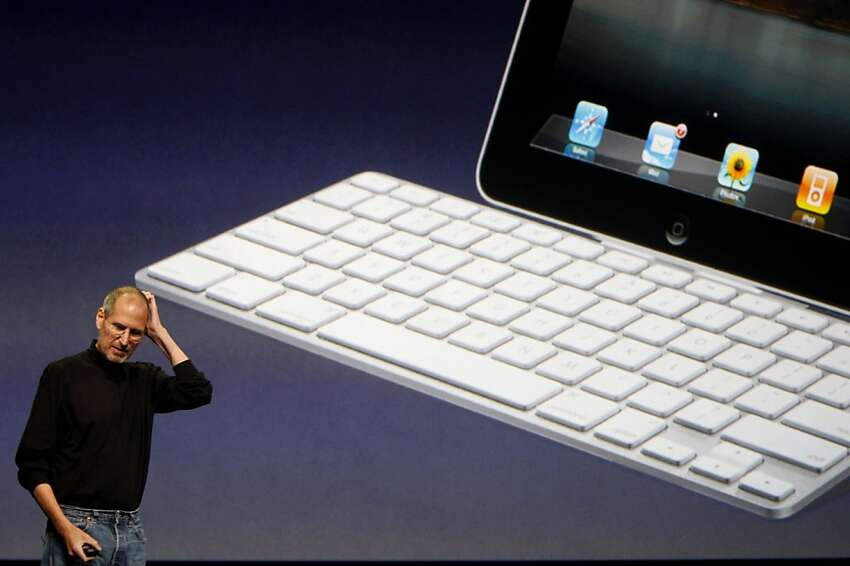 Apple CEO Steve Jobs tells the audience that the wireless keyboard will work with the iPad tablet after he unveiled the new device at the Yerba Buena Center for the Arts in San Francisco, Calif., on Wednesday, Jan. 27, 2010.