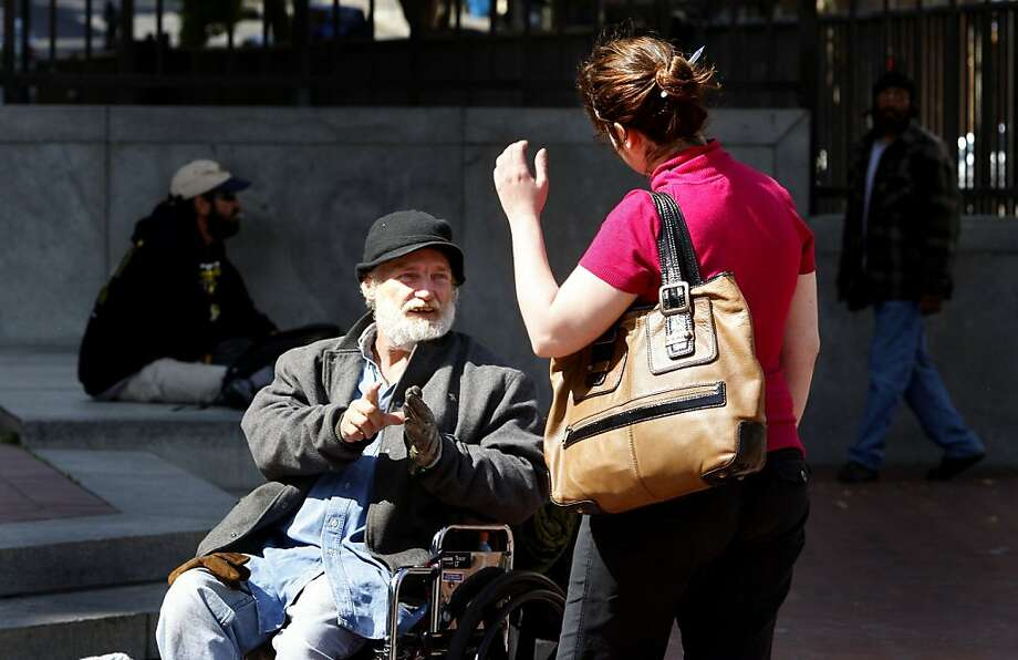 Homeless person Randy Dunklin, from Texas, left, talked with student Jennifer Dambrosio. She is doing her project on Dunklin. A San Francisco State University anthropology class has been studying daily life in United Nations Plaza in San Francisco, Calif. on Monday, May 12, 2008. Photo by Brant Ward / The Chronicle  Ran on: 10-05-2011 Randal Dunklin is accused of stabbing  an S.F.  police officer. Ran on: 10-05-2011 Randal Dunklin is accused of stabbing  an S.F.  police officer. Ran on: 10-05-2011 Randal Dunklin is accused of stabbing  an S.F.  police officer. Ran on: 10-05-2011 Randal Dunklin is accused of stabbing  an S.F.  police officer. Photo: Brant Ward, The Chronicle
