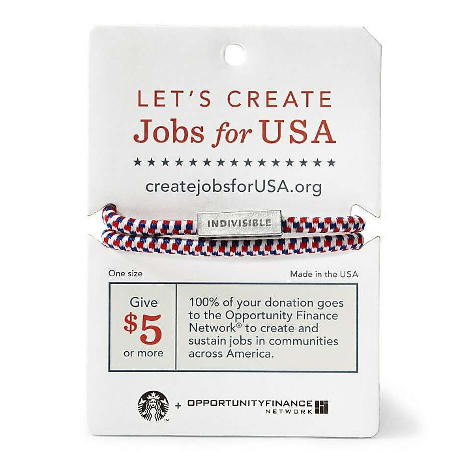 This undated photo provided by Starbucks shows a wristband that Starbucks is giving to customers who donate $5 or more to the Opportunity Finance Network, an organization that works with nearly 200 community development financial institutions nationwide that in turn, lend that money to entrepreneurs, small business and community groups that might not otherwise get funding. Starbucks says 100 percent of the donations will go to these loans that will help add jobs or stem job loss. (AP Photo/Starbucks) Photo: AP