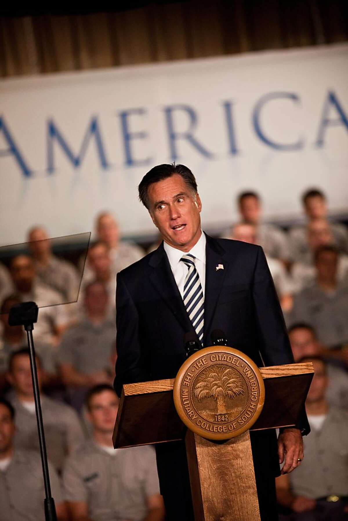 CHARLESTON, SC - OCTOBER 07: Former Massachusetts Gov. and Republican presidential candidate Mitt Romney gives a foreign policy address to cadets at the Citadel on October 7, 2011 in Charleston, South Carolina. Romney spoke about the war in Afghanistan and other military topics. (Photo by Richard Ellis/Getty Images)