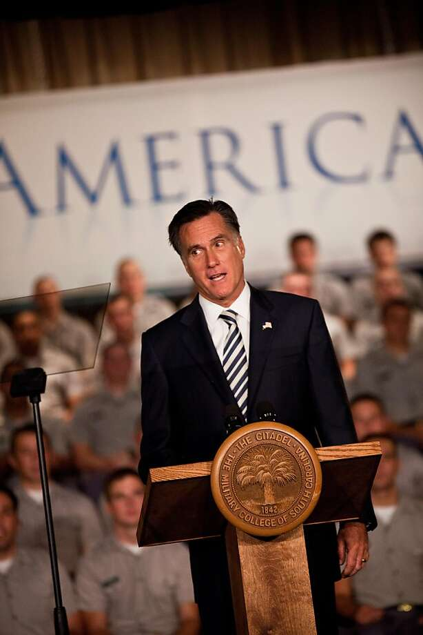 CHARLESTON, SC - OCTOBER 07:  Former Massachusetts Gov. and Republican presidential candidate Mitt Romney gives a foreign policy address to cadets at the Citadel on October 7, 2011 in Charleston, South Carolina. Romney spoke about the war in Afghanistan and other military topics.  (Photo by Richard Ellis/Getty Images) Photo: Richard Ellis, Getty Images