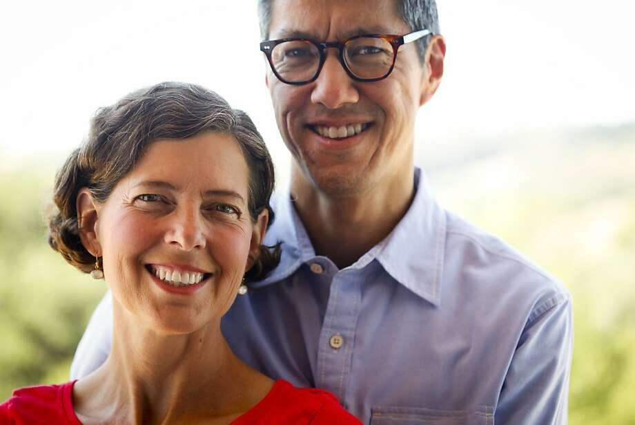 Eyewear designer Allyn Scura and her husband, Scott Iseyama, are seen in the Sebastopol home they're building on Wednesday, Sept. 21, 2011.  Ran on: 10-02-2011 Allyn Scura and husband Scott Iseyama met when he came to her eyewear booth as a customer at a New York City flea market. Photo: Russell Yip, The Chronicle