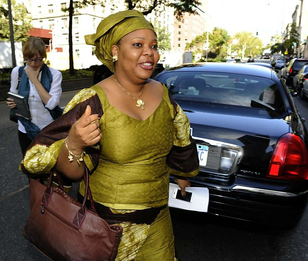 Liberian Leymah Gbowee arrives at Columbia University in New York to attend the Columbia Business School Social Enterprise Conference October 7, 2011 after it was announced she won the 2011 Nobel Peace Prize along with Liberian President Ellen Johnson Sirleaf, and Tawakul Karman of Yemen. AFP PHOTO / TIMOTHY A.CLARY (Photo credit should read TIMOTHY A. CLARY/AFP/Getty Images)