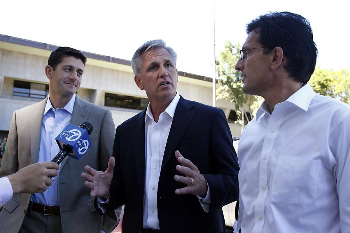 House Budget Committee Chairman Rep. Paul Ryan, R-Wis., left, House Majority Whip Kevin McCarthy, of Calif., center and House Majority Leader Eric Cantor, of Va., speaks to the news media as they arrive at Facebook headquarters in Palo Alto, Calif., Monday, Sept. 26, 2011. The three came to speak to Facebook viewers. (AP Photo/Paul Sakuma)
