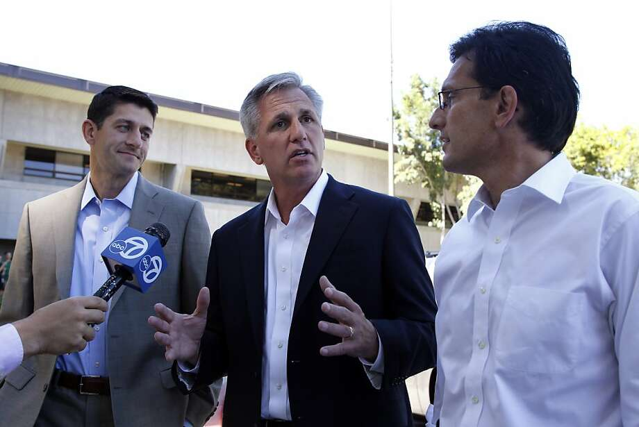 House Budget Committee Chairman Rep. Paul Ryan, R-Wis., left, House Majority Whip Kevin McCarthy, of Calif., center and House Majority Leader Eric Cantor, of Va., speaks to the news media as they arrive at Facebook headquarters in Palo Alto, Calif., Monday, Sept. 26, 2011.  The three came to speak to Facebook viewers. (AP Photo/Paul Sakuma) Photo: Paul Sakuma, AP