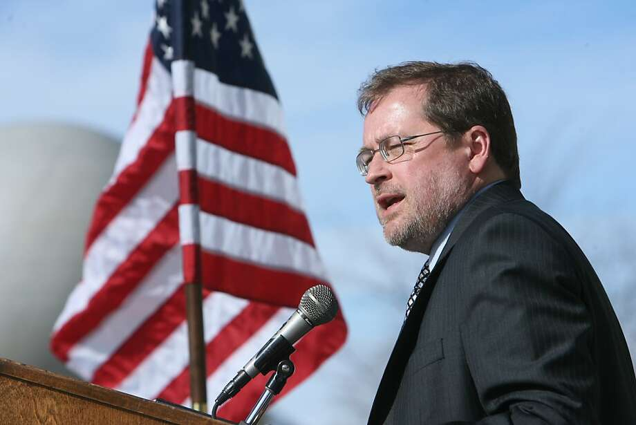 In this Feb. 17, 2011 file photo, Grover G. Norquist President of Americans for Tax Reform, speaks  at an any tax rally on the steps of the Idaho Statehouse in Boise, Idaho.   As lawmakers across the country grapple with massive budget deficits, anti-tax crusader Grover  Norquist is leaving his fingerprint on budget battles from Georgia to Arizona, at times withholding favor or offering his essential stamp of approval for Republicans.   (AP Photo/The Idaho Statesman, Chris Butler, file)  MANDATORY CREDIT Ran on: 03-18-2011 Grover Norquist is among those threatening GOP officeholders. Ran on: 03-18-2011 Grover Norquist is among those threatening GOP officeholders. Photo: Chris Butler, AP