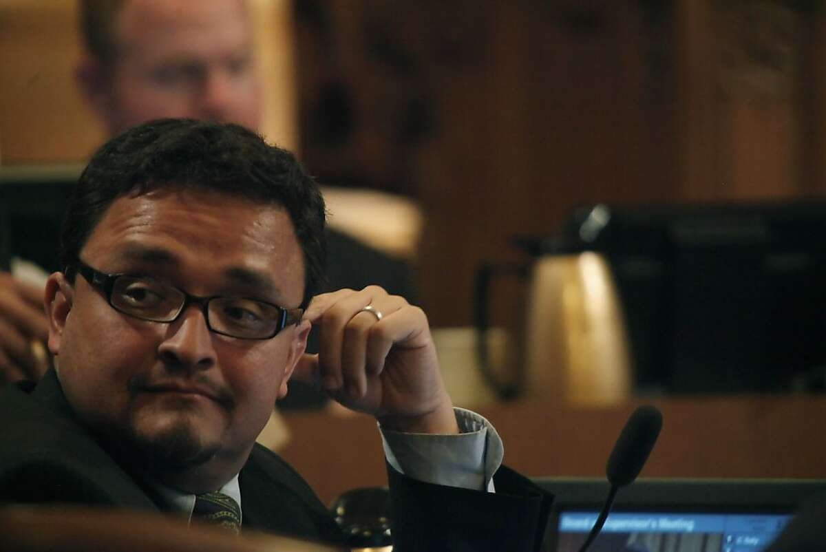 Supervisor David Campos listens to a speaker during the San Francisco Board of Supervisors meeting at City Hall in San Francisco, Calif. on Tuesday May 4, 2010.